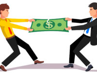 Two business man fighting over a market income share tearing big dollar apart. Flat style vector illustration.