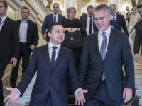 NATO Secretary General Jens Stoltenberg and the President of Ukraine, Volodymyr Zelenskyy